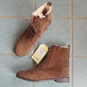 Toms Alpa Brown Faux Suede Ankle Boots NWT